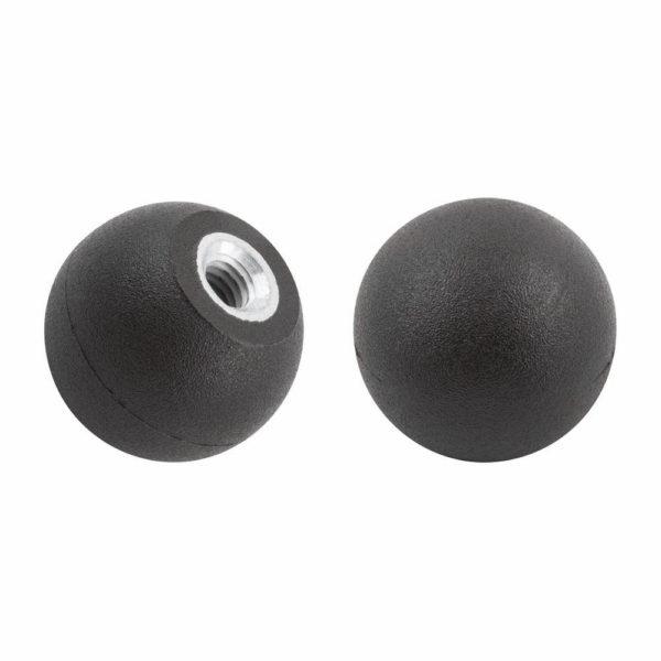 Ball knob with tapped bush, matt