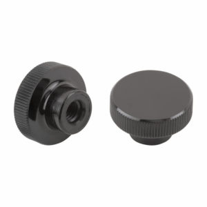Knurled knob, high glossy, made from solid thermoset Bakelite material with plastic thread