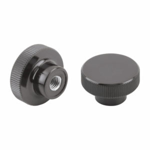 Knurled knob, high glossy, made from solid thermoset Bakelite material with tapped bush