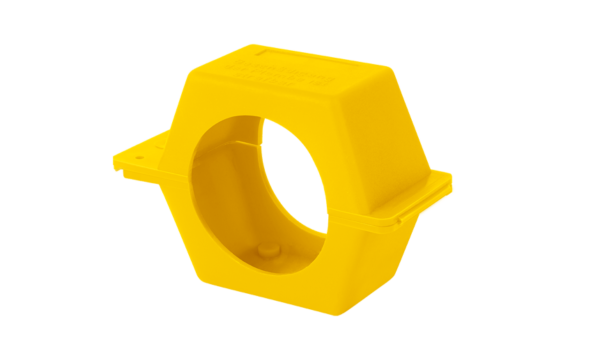 Plombierschelle gelb Qn2,5 Qn6 aus Polyprophylen für Wasserzaehler und Gaszaehler